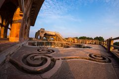 Mandu India, afghan ruins of islam kingdom, mosque monument and muslim tomb. Water channels and pool, Jahaz Mahal. Mandu India, afghan ruins of islam kingdom stock photo
