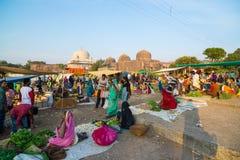 Saturday tribal market at Mandu, Madhya Pradesh, India, near the ancient mosque and islamic heritage. Mandu, India - December 2, 2017: saturday tribal market at stock photo