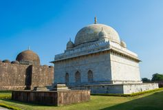 Mandu Mandav Hoshang Shah Mausoleum & Jami Mosque. Hoshang Shah White Marble Mausoleum and Dome of Jami Mosque in the Historic City of Mandu Mandav near Indore stock images