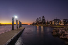 Mandurah Bay Jetty. Sunset view from a jetty located at Mandurah Bay, Western Australia Stock Photo