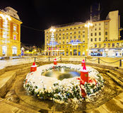 Mandusevac fountain at night, decorated with advent wreath. Zagreb Royalty Free Stock Photo