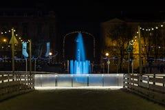 Mandusevac springbrunn på natten - Zagreb, Kroatien royaltyfri fotografi