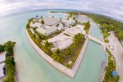 Maneaba ni Maungatabu parlament Kiribati budynek na motu w atolu lagunie, widok z lotu ptaka Dom zgromadzenie, Tarawa zdjęcie stock