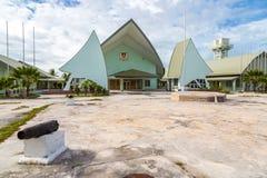 Maneaba ni Maungatabu parlament Kiribati, kompleks budynki na Tarawa atolu laguny motu Dom zgromadzenie oceaniczny obrazy stock