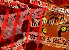 Maneater headlines. Vector design of newspaper headlines about a man-eating beast Stock Images