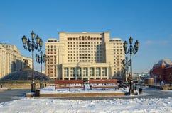 Manege广场的冬天视图,莫斯科,俄罗斯 库存照片