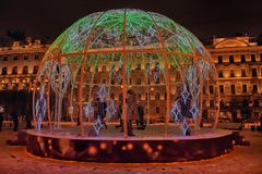 Manege Square..A dome of light garlands in which brighter elements depict trees. Russia, St. Petersburg 01,01,2019 Manege Square..A dome of light garlands in royalty free stock image