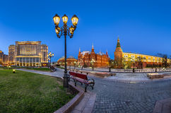 Manege Square and Moscow Kremlin in the Evening, Moscow Stock Photo