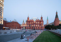 Manege Square at night, Moscow, Russia Stock Photo