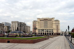 Manege square, the State Duma of the Russian Federation and the hotel Moscow. Royalty Free Stock Photos