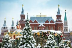 Manege Square in winter, Moscow, Russia. Moscow, Russia - February 5, 2018: State Historical Museum on the Manege Square in the winter. Central Moscow during Royalty Free Stock Photography