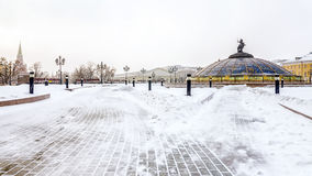 Manege Square winter in snowy weather.  Royalty Free Stock Photography