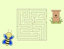 Maneira da abelha dos desenhos animados de dirigir o enigma ilustração royalty free