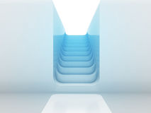 Maneira da escadaria em cima no projeto claro azul Foto de Stock Royalty Free