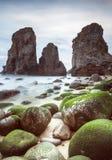 A maneira das rochas sobre o musgo fotografia de stock