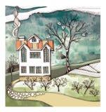 A maneira de dirigir A estrada de pedra após os arbustos e as árvores conduz à casa do dois-andar Desenho da fantasia ilustração royalty free