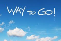 Maneira de ir! escrito no céu Foto de Stock Royalty Free