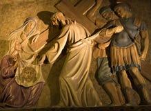 Maneira de Jesus no calvary - Barcelona Fotografia de Stock Royalty Free