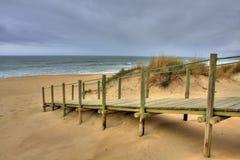 Maneira de madeira da caminhada sobre a duna de areia Foto de Stock