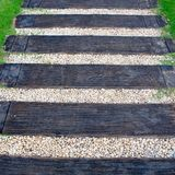 Maneira de madeira da escada Fotografia de Stock
