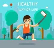 Maneira de vida saudável Selfie do monopod do esporte no parque ilustração royalty free