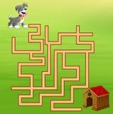 Maneira do achado do labirinto do cão do jogo à casa Fotografia de Stock