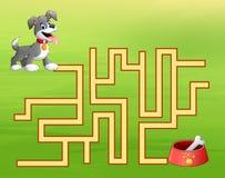 Maneira do achado do labirinto do cão do jogo ao recipiente de alimento para cães ilustração stock