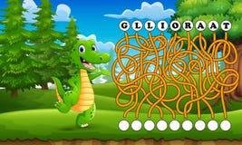 Maneira do achado do labirinto do crocodilo do jogo à palavra Fotos de Stock