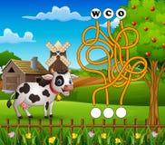 Maneira do achado do labirinto da vaca do jogo à palavra Fotografia de Stock