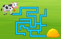 Maneira do achado do labirinto da vaca do jogo ao monte de feno Imagens de Stock Royalty Free