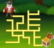 Maneira do achado do labirinto dos piratas do jogo ao tesouro Foto de Stock Royalty Free