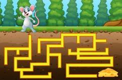 Maneira do achado do labirinto do rato do jogo ao queijo Fotografia de Stock