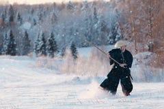 Maneira do samurai do guerreiro foto de stock