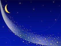 A maneira leitosa com estrelas e lua Fotografia de Stock