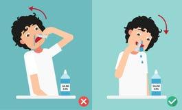 Maneiras direitas e erradas de limpar suas narinas, ilustração ilustração stock