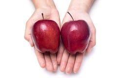 Maneje las manzanas rojas frescas aisladas en un fondo blanco Fotografía de archivo
