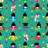 Maneki日本玩偶狂热舞对称无缝的样式 向量例证