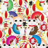 Maneki Bon Odori lantern firework seamless pattern. This illustration is design and drawing Maneki Neko fan dance celebrating the Bon Odori Festival in colorful Royalty Free Stock Image