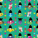 Maneki japanese doll fan dance symmetry seamless pattern. This illustration is design Maneki Neko dancing with Japanese doll in vertical and symmetry with Stock Image