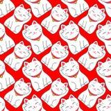 Maneki-neko Безшовная картина с японское удачливым Стоковое Фото