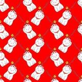 Maneki-neko Безшовная картина с японское удачливым Стоковые Изображения RF