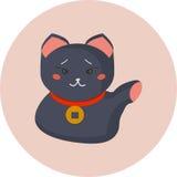 Maneki-neko или приветствующий кот кота или удачливых с воротником монетки на своей шеи Манящ кота сделанного в плоском стиле шар Стоковые Изображения