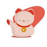 Maneki-neko или приветствующий кот кота или удачливых с воротником монетки на своей шеи Манящ кота сделанного в плоском стиле шар Стоковые Изображения RF