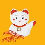 Maneki-neko или приветствующий кот кота или удачливых с воротником монетки на своей шеи Манящ кота сделанного в плоском стиле шар Стоковое Изображение