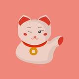 Maneki-neko или приветствующий кот кота или удачливых с воротником монетки на своей шеи Манящ кота сделанного в плоском стиле шар Стоковая Фотография