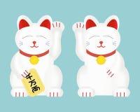 Maneki-neko или удачливый кот Изолированная иллюстрация вектора Стоковая Фотография RF