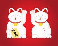 Maneki-neko или удачливый кот Изолированная иллюстрация вектора Стоковое фото RF