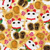 Maneki neko bless fu seamless pattern Royalty Free Stock Photo