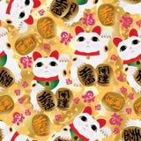 Maneki neko bless fu seamless pattern. This illustration is drawing Maneki neko with blessing fu decoration in seamless pattern Royalty Free Stock Photo