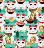Maneki Neko call eat Ramen seamless pattern Royalty Free Stock Photo